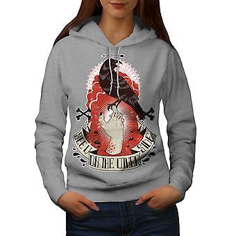 See You Dead Crow Horror Women GreyHoodie | Wellcoda