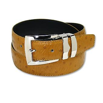 OSTRICH Pattern Bonded Leather Men's Belt Silver-Tone Buckle