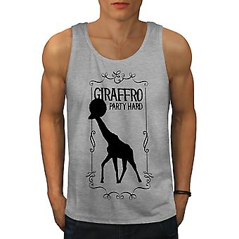 Giraffe Party Hard Funny Men GreyTank Top | Wellcoda