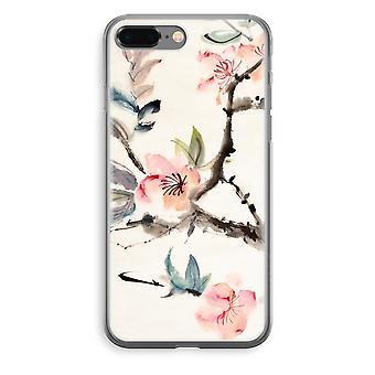 iPhone 8 Plus Transparant Case (Soft) - Japenese bloemen