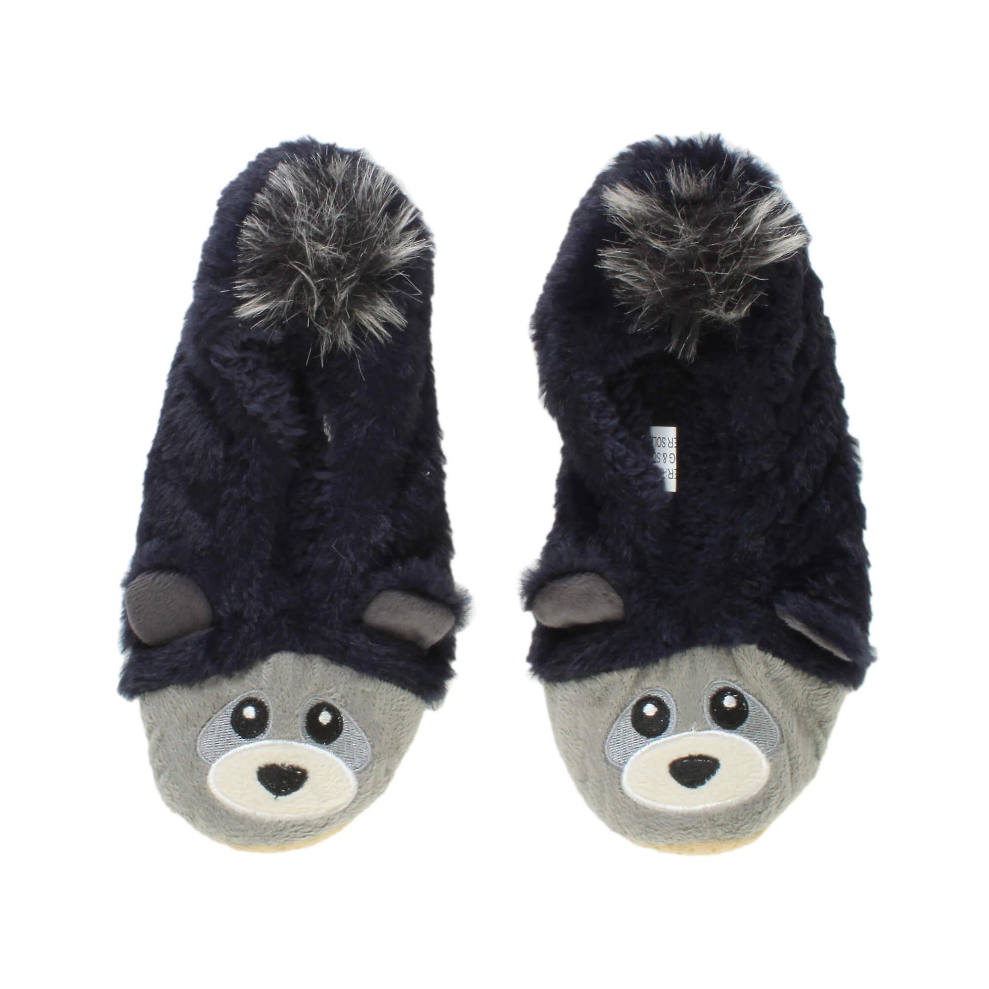 Ajvani womens elastic fleece lined cosy fur bear raccoon animal face grip slippers socks aRsDs