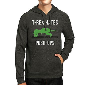 T-Rex Push Ups Mens/Unisex Cool Grey Pullover Fleece Hoodie