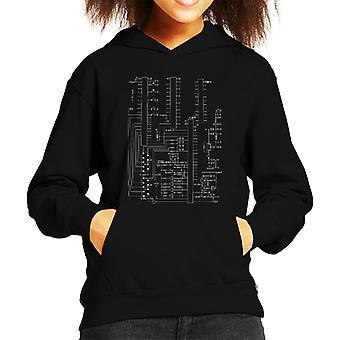 Atari 2600 Computer Schematic Kid's Hooded Sweatshirt