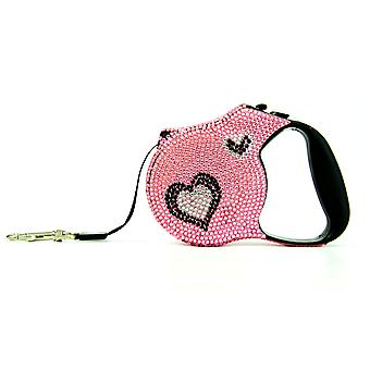 Valentina Valentti Crystallized retractable dog leads extending leash, 5m, heart