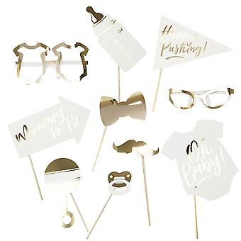 Gold Foiled PHOTO BOOTH PROPS OH BABY! Baby Shower Happy Pushing Mummy To Be