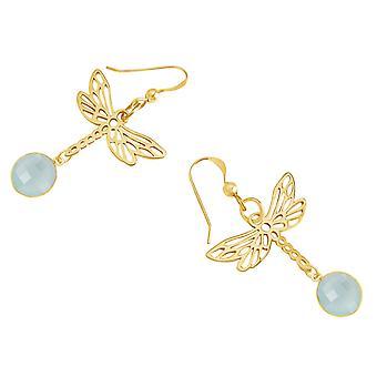 Gemshine Damen Ohrringe 925 Silber Vergoldet LIBELLE Chalcedon Meeresgrün
