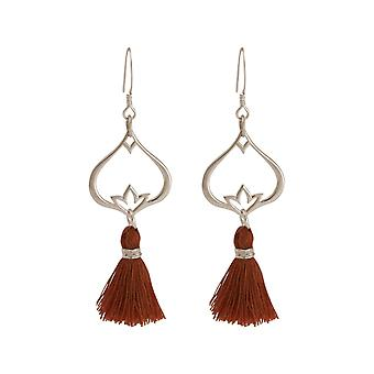 Gemshine Earrings Earrings Earrings Silver Lotus Flower Tassel Red Brown YOGA
