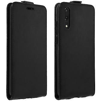 Vertical flip estuche de cuero sintético, caso de Huawei P20 - negra