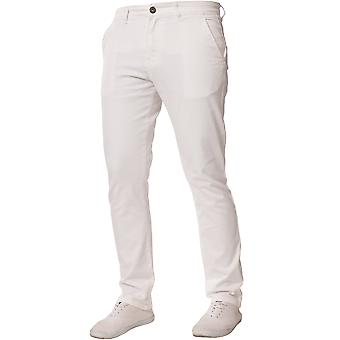 Mens Tapered Fit White Stretch Jeans | Enzo Designer Menswear