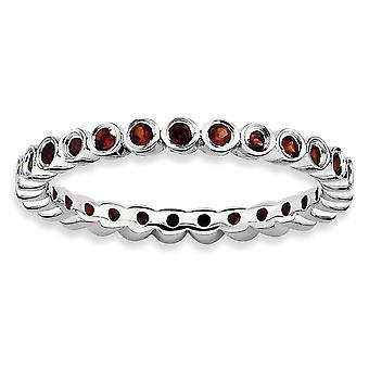 925 שטרלינג לוח כסף מלוטש תבנית רודיום מצופה ביטויים הערמה הגארנט טבעת תכשיטים מתנות לנשים-