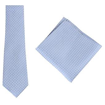 Knightsbridge Neckwear Check Tie and Pocket Square set - Light Blue