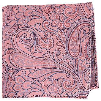 Найтсбридж Neckwear Пейсли шелка карман площадь - Розовый/синий