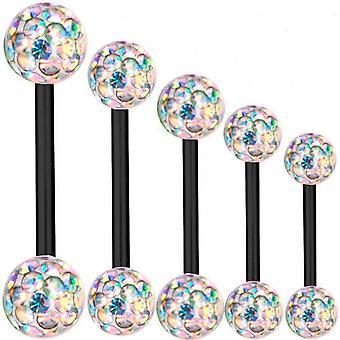 Piercing Bar zwart Titanium 1, 6mm, Multi Crystal Ball Aurora Borealis | 6 - 40mm