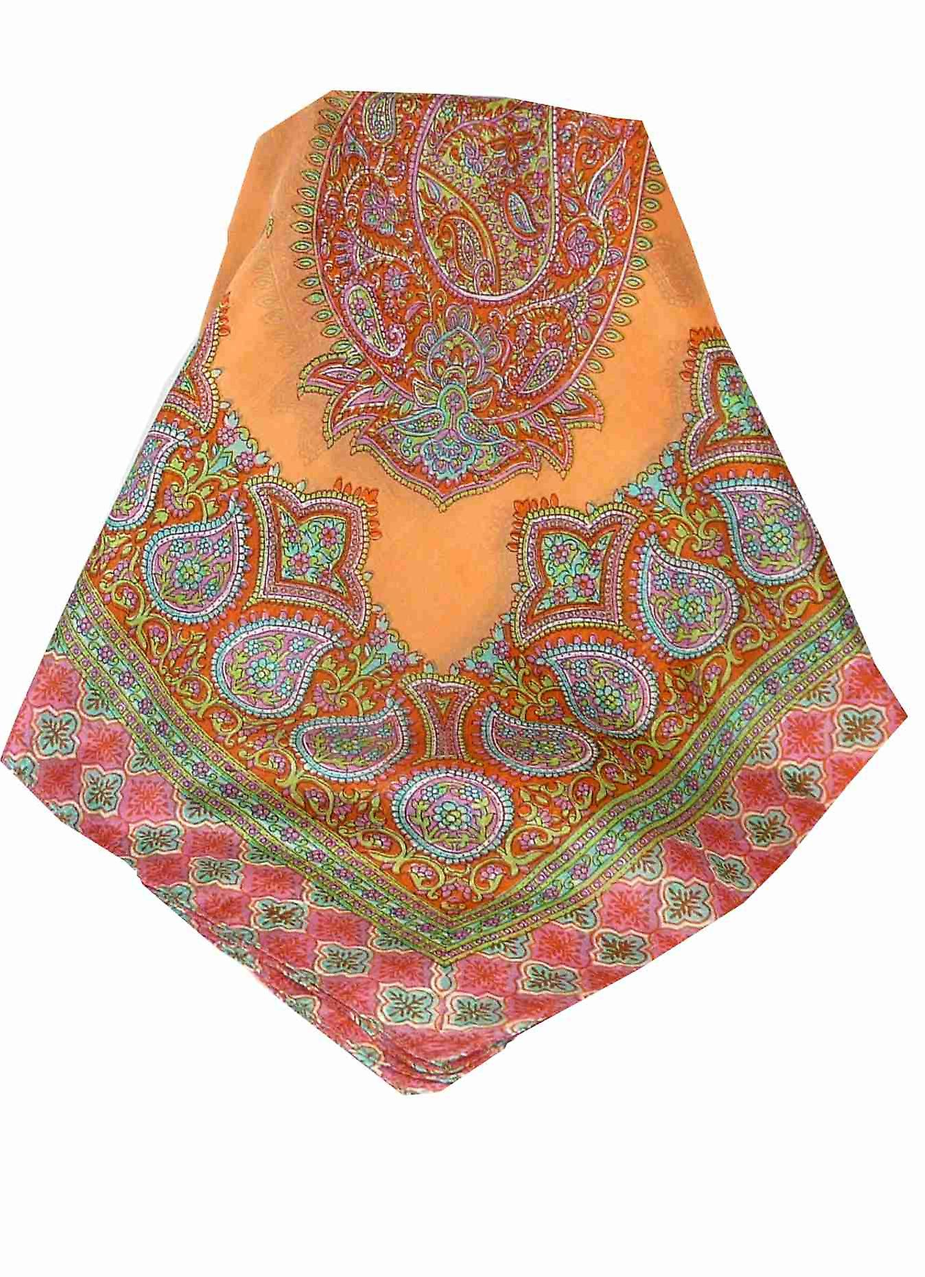 Mulberry Silk Traditional Square Scarf Andrha Nectarine by Pashmina & Silk