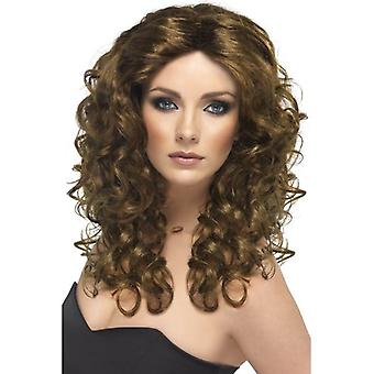 Long Brown Curly Wig, Glamour Wig, Fancy Dress Accessory.