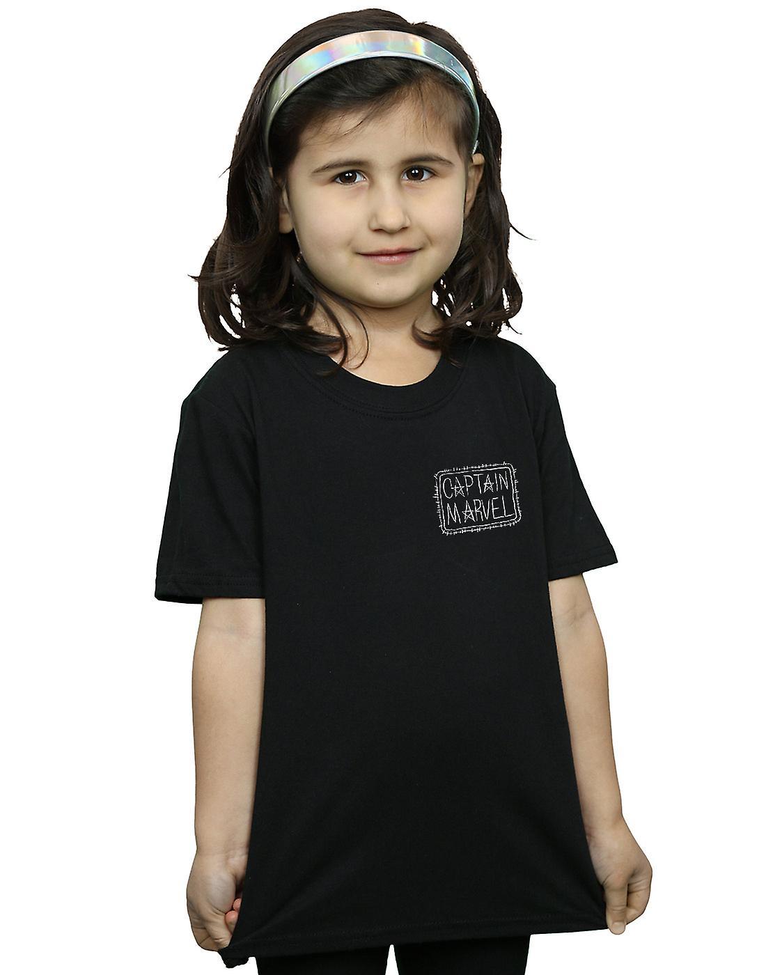 Marvel Girls Captain Marvel Breast Patch T-Shirt
