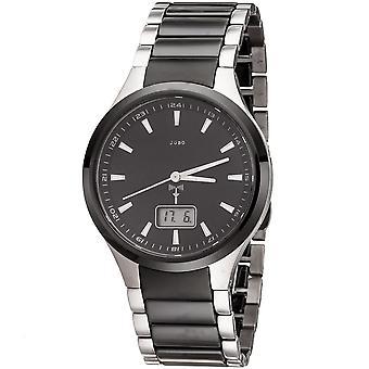 JOBO men's wristwatch radio radio clock stainless steel with ceramic date ceramic watch