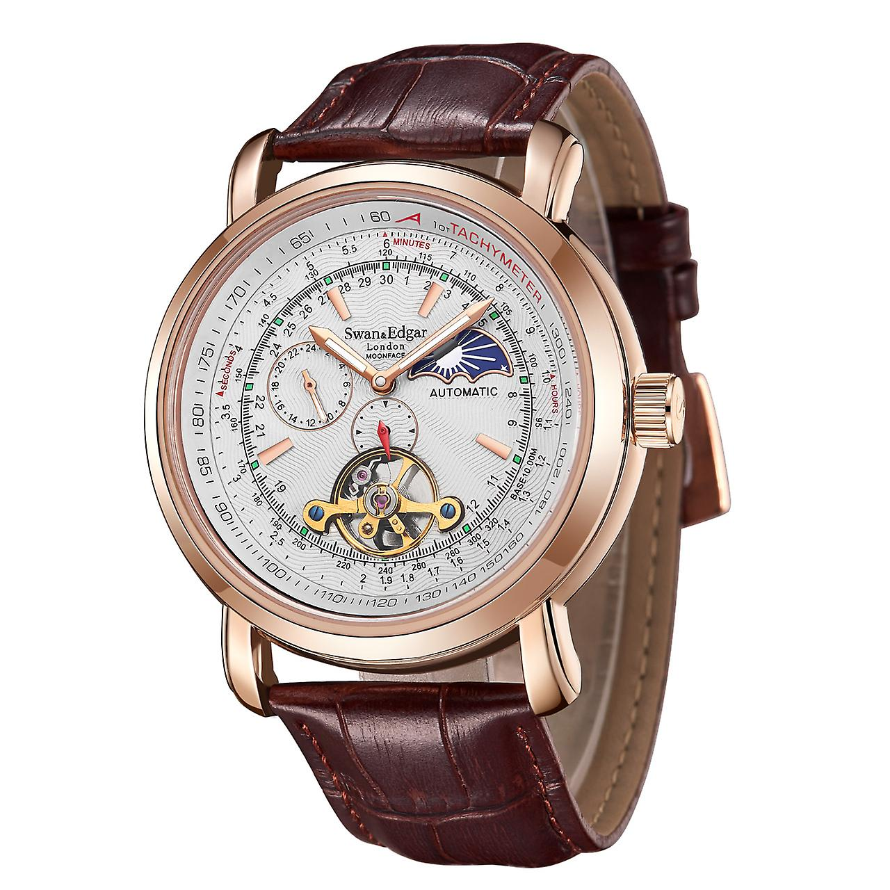 Swan & Edgar Automatic Moonface Rose & White Mens Watch