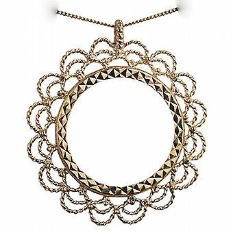 Oro 9ct 32mm montaggio completo sovrano con un diamante taglio lunetta pendente con un cordolo catena 20 pollici