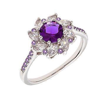 Bertha Juliet Collection Women's 18k WG Plated Purple Flower Fashion Ring Size 7