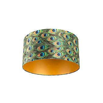 QAZQA Velor lampshade peacock design 50/50/25 with golden interior