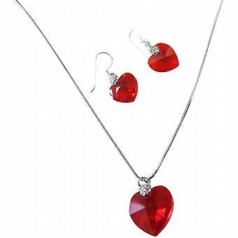 Lite Siam røde krystaller Xilion hjerte Valentine halskæde & øreringe sæt
