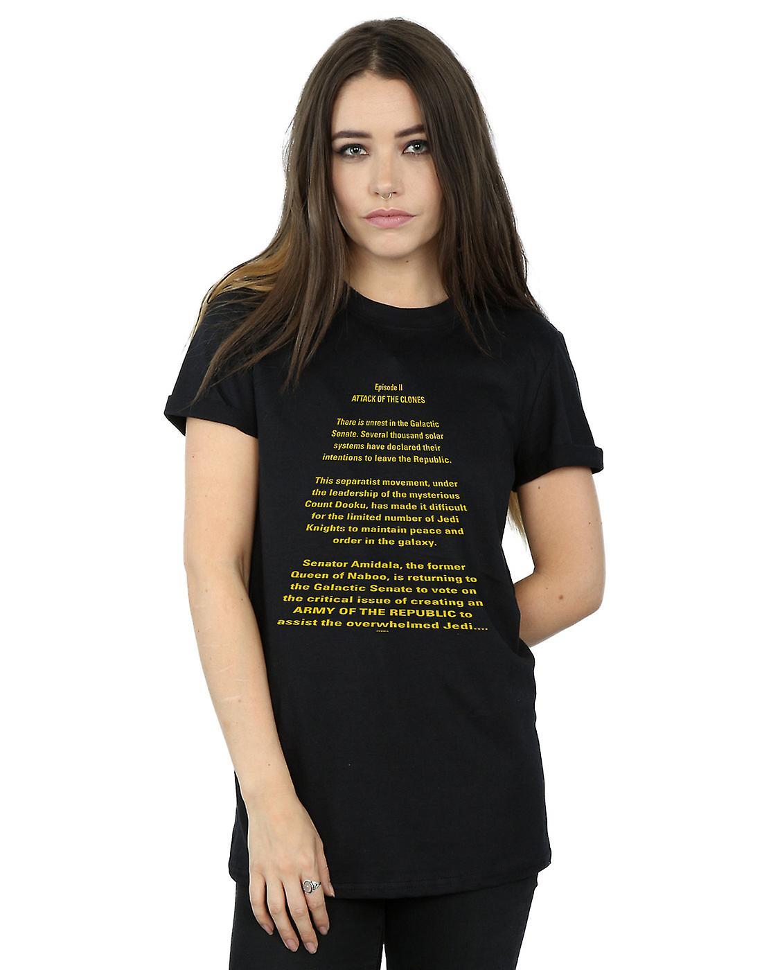 Star Wars Women's Attack Of The Clones Opening Crawl Boyfriend Fit T-Shirt