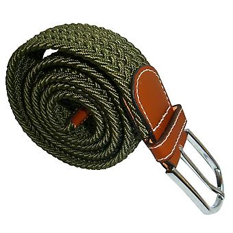 Bassin and Brown Plain Woven Belt - Khaki Green
