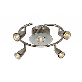 Lucide Bingo-LED Modern Round Metal Satin Chrome Ceiling Spot Light