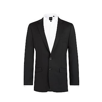 Dobell Mens Black 2 Piece Suit Slim Fit Notch Lapel
