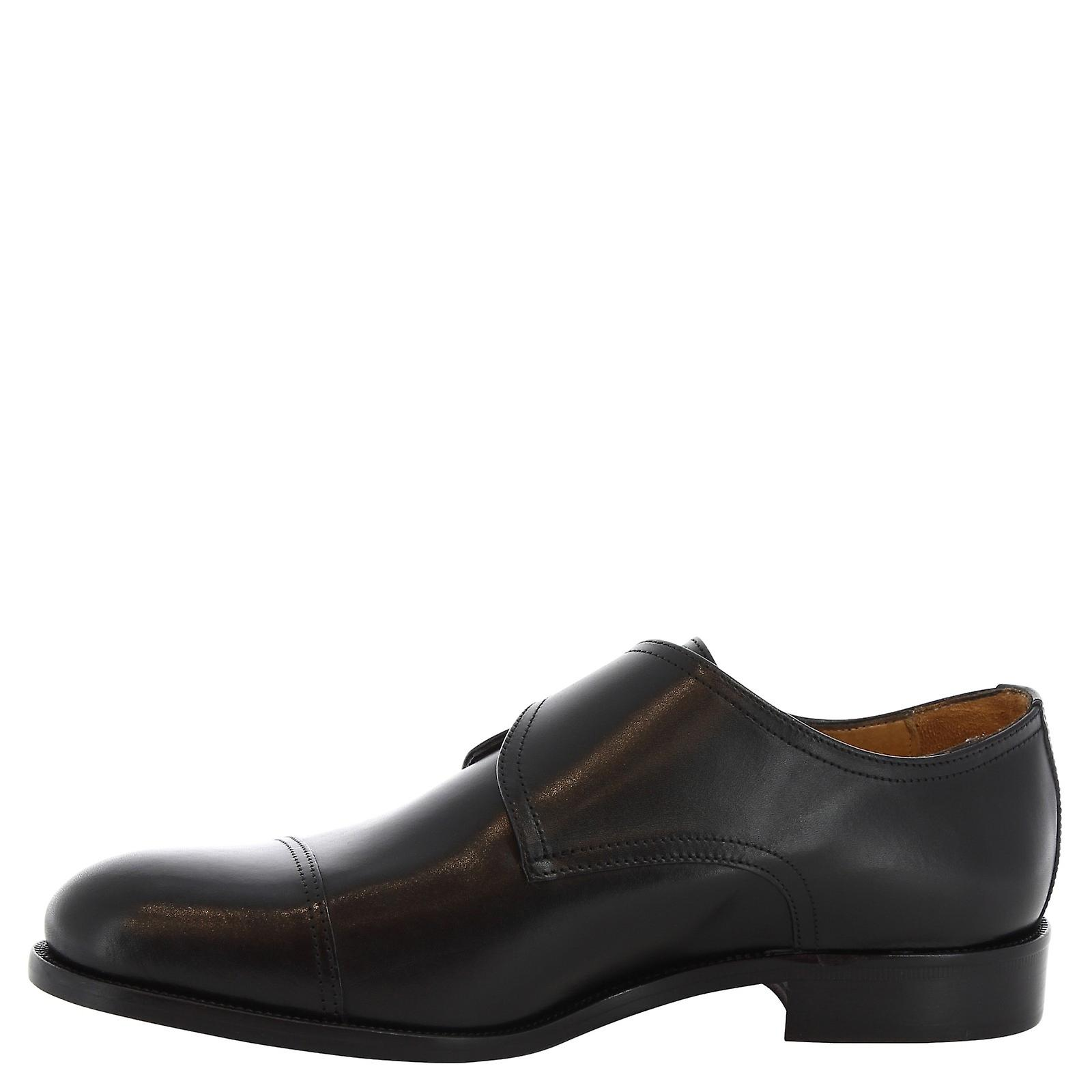 Leonardo Shoes Man's Handmade Monk In Black Leather