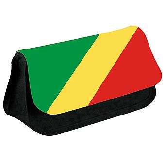 Republic of Congo Flag Printed Design Pencil Case for Stationary/Cosmetic - 0040 (Black) by i-Tronixs