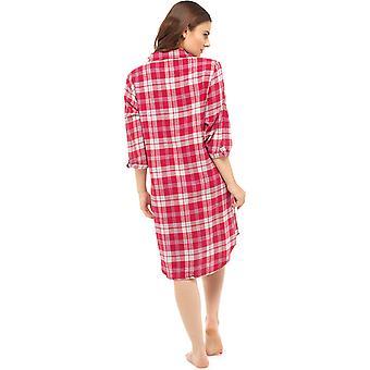 Foxbury dames traditionele geborsteld katoen Check Nachthemd