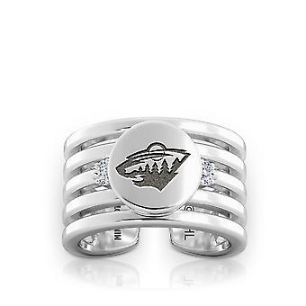 Minnesota Wild Engraved Sterling Silver Diamond Multiband Cuff Ring