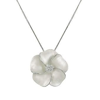 Eternal Collection Pansy White Enamel Flower Silver Tone Pendant Necklace