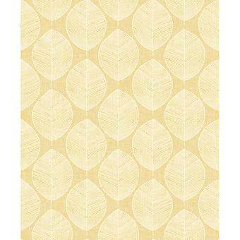 Arthouse Scandi Leaf Motif Geometric Nature Stripes Abstract Leaf Pattern Wallpaper 908202