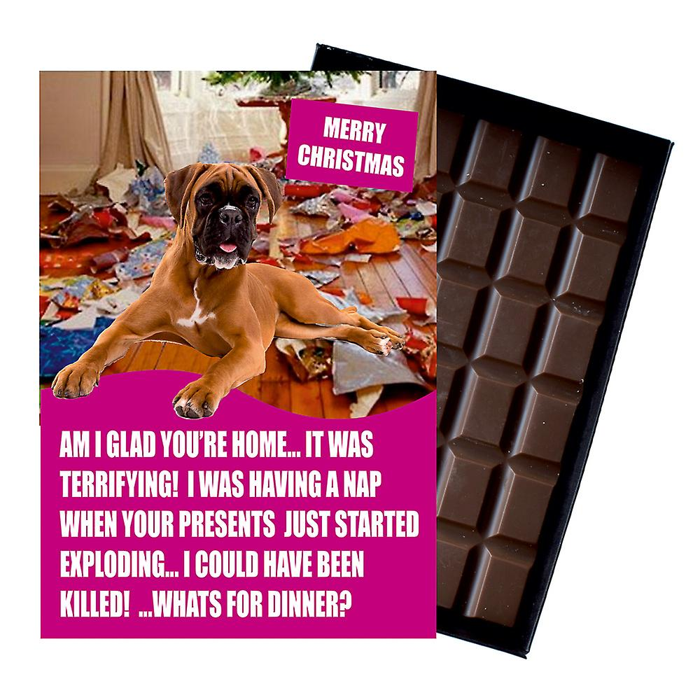 Boxer Funny Christmas Gift For Dog Lover Boxed Chocolate Greeting Card Xmas Present