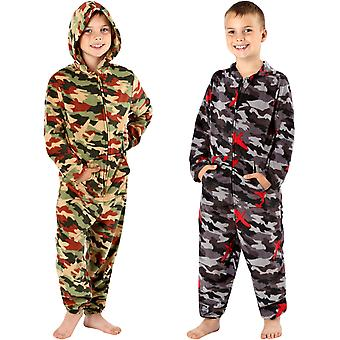 ONE07 Boys Kids Hooded Micro Fleece All in One Night Jumpsuit Sleepsuit - Camo