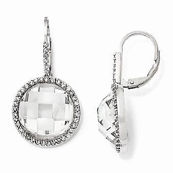 925 Sterling Sølv Leverback Rhodium belagt Skakbræt skåret CZ Cubic Zirconia simuleret Diamond Circle Long Drop Dangl