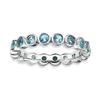 925 Sterling Silber Lünette poliert gemustert Rhodium vergoldet stapelbare Ausdrücke blau Topas Ring Schmuck Geschenke für Wome