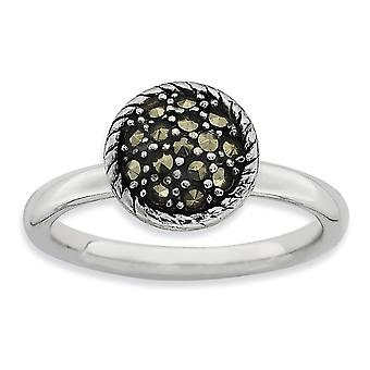 2.25mm 925 Sterling Silver Polished Rhodium-plated Stackable Expressions Marcasite Ring - Ring Size: 5 to 10