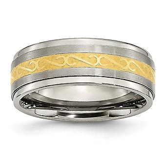 Titanium 8mm Gold Flashed Engravable Yellow IP plated Satin and Polished Band Ring Jewelry Gifts for Women - Ring Size: