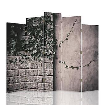 Divisor de quarto decorativo, 5 painéis, lona, plantas na parede