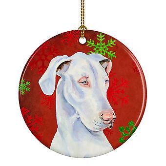 Great Dane flocon rouge vacances Noël ornement céramique LH9311
