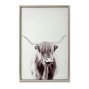 Hill interiörer Highland Cow bild på glas med Silver ram