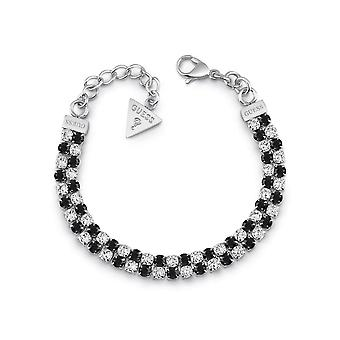 Guess Jewellery 2 Rows Black White Crystals Silver Bracelet UBB29100-L