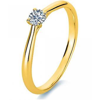 Anillo de diamantes - 18K 750/- Oro amarillo - 0.18 ct. Tamaño 54
