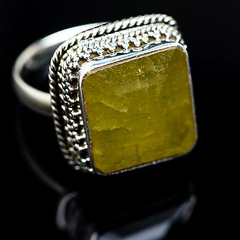 Large Green Aventurine Ring Size 9 (925 Sterling Silver)  - Handmade Boho Vintage Jewelry RING978045