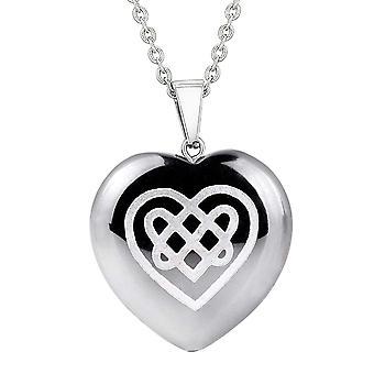 Amulett Celtic Knot Shiled Herz treibt Schutz Energie Hämatit geschwollenen Herz Anhänger Halskette