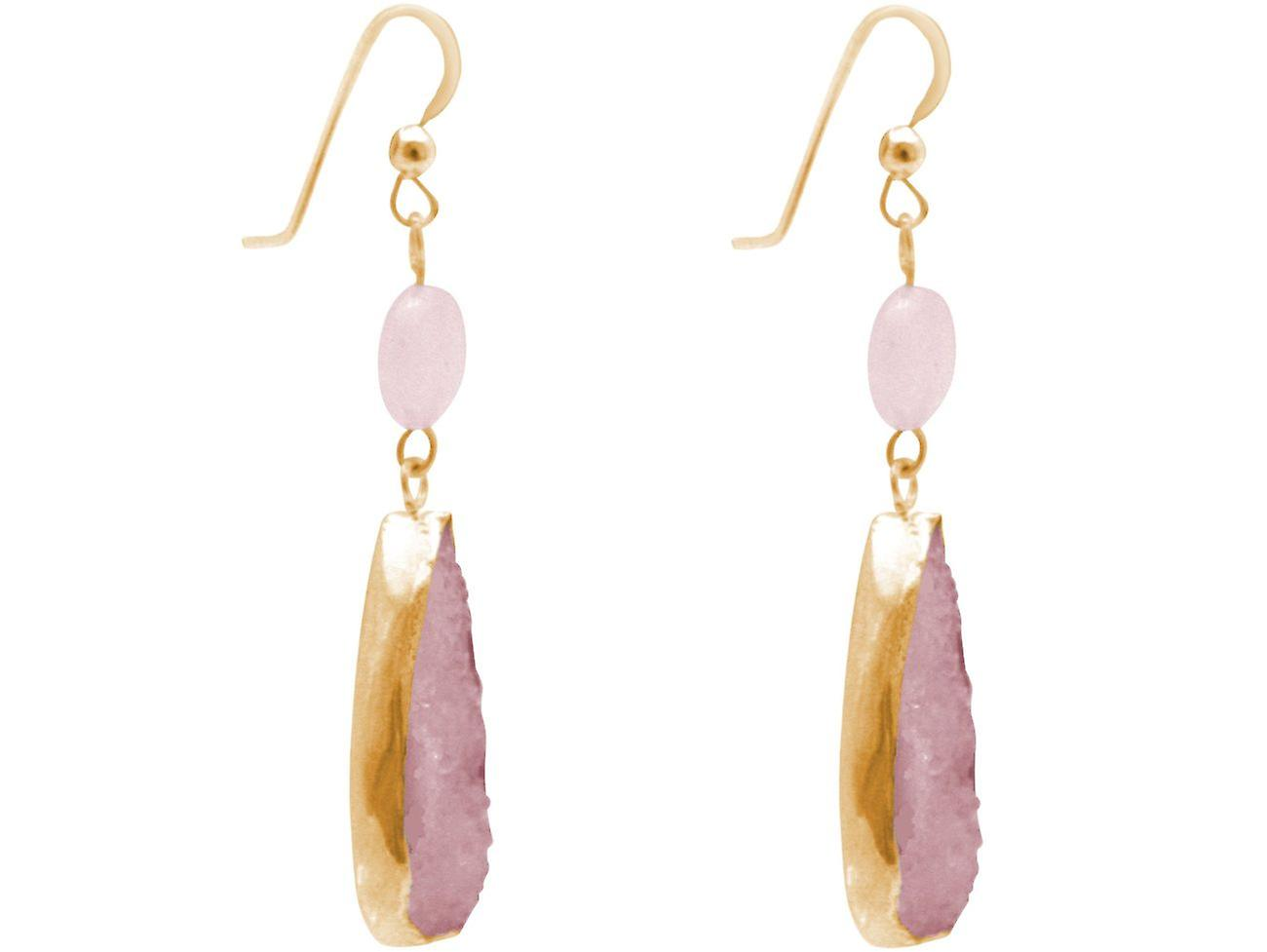 Gemshine Ohrringe Rosenquarz Edelstein Tropfen in 925 Silber oder vergoldet